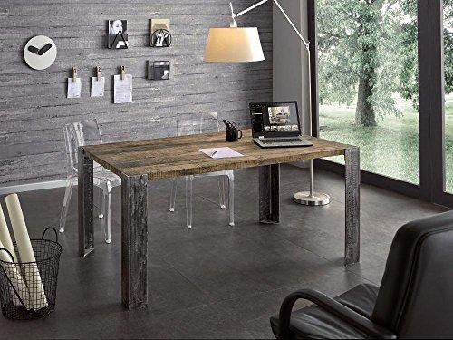 Table rectangulaire pour cuisine, salon, bois massif, chêne ciré et pieds en fer