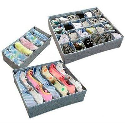 Gift geven Opvouwbare Box/Bamboe houtskool Fibre Opbergtas voor BH, Ondergoed, Necktie, Sokken 3 stks Vierkant grijs Thuis