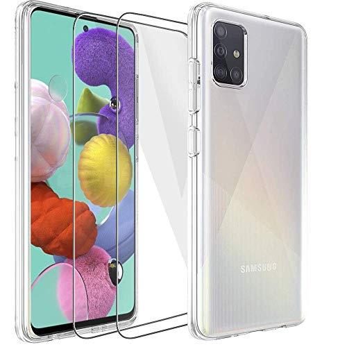 Samsung Galaxy A51 Hülle Panzerglas, [1 Handyhülle 2 Schutzfolie] Schutzhülle [Ultra Dünn] Folie Glas 9H Panzerglasfolie TPU Silikon Hülle Cover Tasche Schale Transparent Crystal für Samsung Galaxy A51
