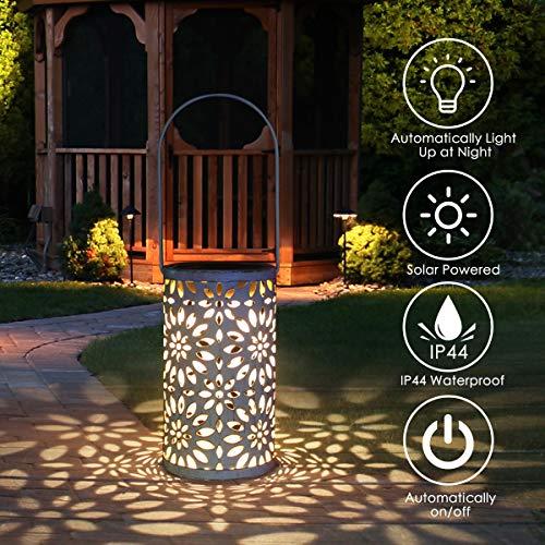 Jardín al aire libre lámpara, Tencoz llevó la linterna solar, luces marroquíes silueta solar luces colgantes LED Luz solar del jardínimpermeable patio iluminado [clase de energía A +]