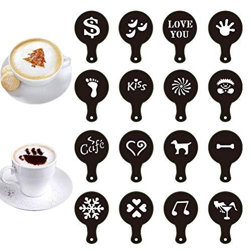 16-teiliges Kaffeeschablonen-Set aus Kunststoff für Barista, Cappuccino, Kunstvorlagen, Kaffee-Girlande, Kuchendekorationswerkzeuge für heiße Schokolade, Cappuccino, Keks-Zuckerguss, Cupcake-Dekor