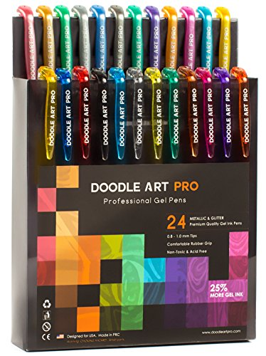 Glitter Gel Pens with Metallic Set of 24 for Adult Coloring Books - Assorted Colors Gel Pens Set, Fine Tip, Quick Dry, Professional Coloring Pen by Doodle Art Pro
