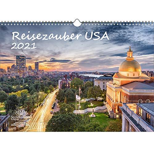 Reisezauber USA DIN A3 Kalender für 2021 USA Stadt und Land - Geschenkset Inhalt: 1x Kalender, 1x Weihnachts- und 1x Grußkarte (insgesamt 3 Teile)