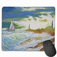 マウスパッド オフィス最適 ヨットの油絵 海の絵 ゲーミング 防水性 耐久性 滑り止め 多機能 標準サイズ25cm×30cm