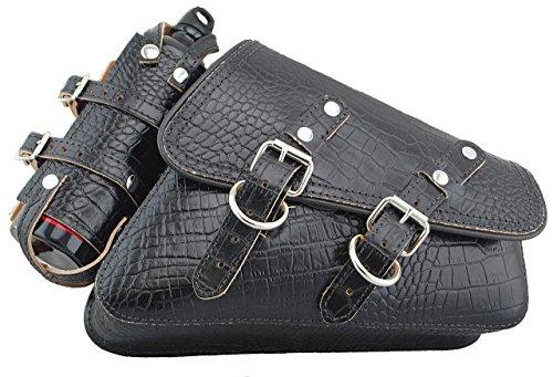 La Rosa Design H-D 04 UP Sportster Right Solo Saddle Bag Swingarm Bag with Fuel Bottle Holder - Black Alligator