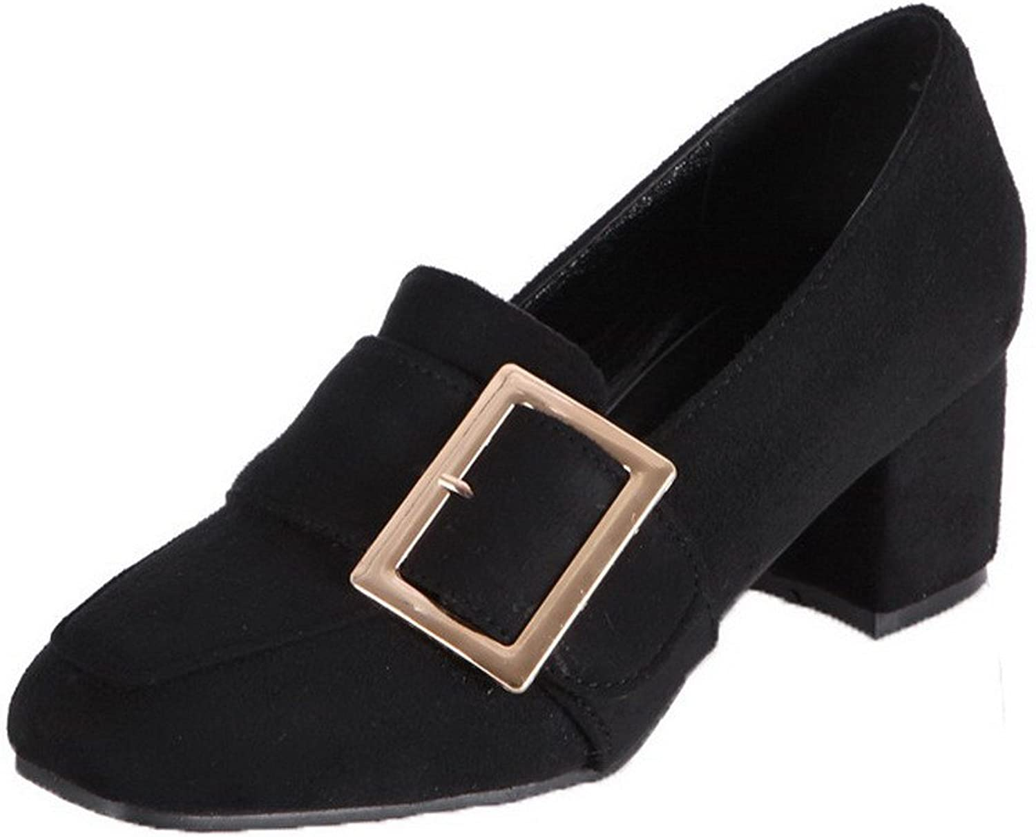 WeiPoot Women's Closed-Toe Kitten-Heels Pull-On PU Solid Pumps-shoes