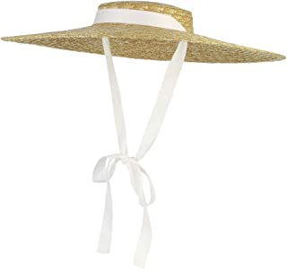 Jelord Sombrero de Panama - Canotiers para Mujer - Pamela de Paja Natural - Sombrero Playa Mujer Plegable - con ala Grande...