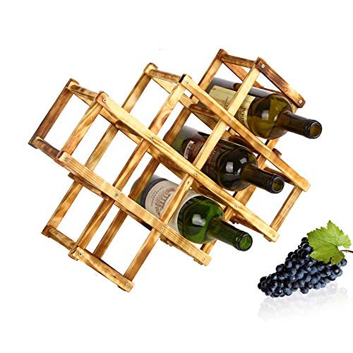 Tabletop Wine RackWooden Wine Holders Racks for 10 Bottles Minimal Assembly Required Wooden Wine Bottle Holder Storage Shelves Amiley【Ship from USA】 A