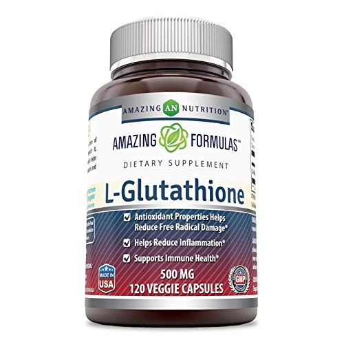 Amazing Formulas L-Glutathione, 500 Mg Veggie Capsules(Non-GMO,Gluten Free) (120 Count) - Antioxidant Properties Helps Reduce Free Radical Damage - Helps Reduce Inflammation - Supports Immune Health.