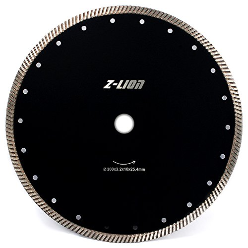 12 Inch Diamond Saw Blade Continuous Rim Turbo Teeth-Dry or Wet Diamond Cutting Disc with Cooling Holes for Granite Marble Ceramic Tiles
