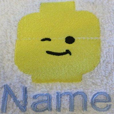 EFY Accappatoio per adulti con un logo Lego e nome a scelta in bianco, taglia M, L, XL e XXL, White, XXLarge