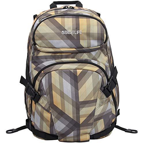 """BESTLIFE Unisex Rucksack """"MERX"""" Schultasche Freizeittasche mit Laptopfach bis 15,6 Zoll (39,6cm), grau/beige"""