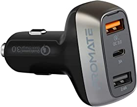 Promate Car Charger, Fast Charging 30W 3 USB Ports Car Adapter with Qualcomm QC 3.0 Port, 5V/3A USB Type-C Port, 2.4A USB Port and Over-Current Protection for All USB