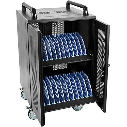 RackMatic - Armario de transporte para 20 ordenador portátil, notebook y tablet negro