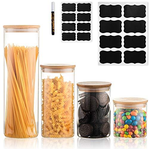 Deco Haus Set 4 Tarros de Cristal Reutilizables Tapa Bambú - Herméticos, Aptos Lavavajillas y Microondas - Contenedor para Galletas, Pasta, Comida Seca, Cereales - Alto 11/16/21/31cm Diámetro 10cm