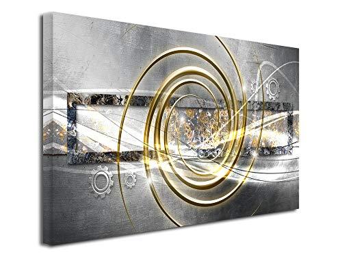 DECLINA, Décoration Murale Tableau, Tableau Deco Home, Tableau Deco Murale Salon,Tableau Toile Abstrait décoration ROUAGES 80x50 cm Jaune