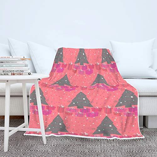 AXGM - Manta para niños y niñas, diseño de árboles de Navidad, Color Rosa, Caja de Regalo, Estampado, Manta de Fieltro Rojo Coral, Blanco, para Galaxy S3