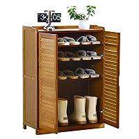 玄関ベンチ 靴 収納 シューズラック 調節可能な棚が付いている大きい2ドアの靴の収納キャビネット、 玄関、寝室、バスルームの内側に木製の防水靴タワーオーガナイザー (Color : Style-1)