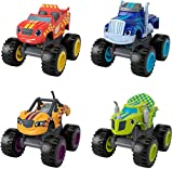 Fisher Price Blaze and The Monster Machines Racers 4 Pack Set of Die Cast Metal Push Along Vehicles for Preschool Kids Ages 3 Years and Older [Amazon Exclusive]