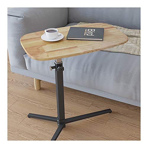 Laptoptisch Computertisch Mit Rollen Höhenverstellbar, Tisch Laptopständer Pflegetisch Beistelltisch Für Bett Und Sofa (Color : Wood)