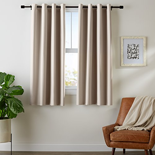"""Amazon Basics Room Darkening Blackout Window Curtains with Grommets - 52"""" x 63"""", Taupe, 2 Panels"""