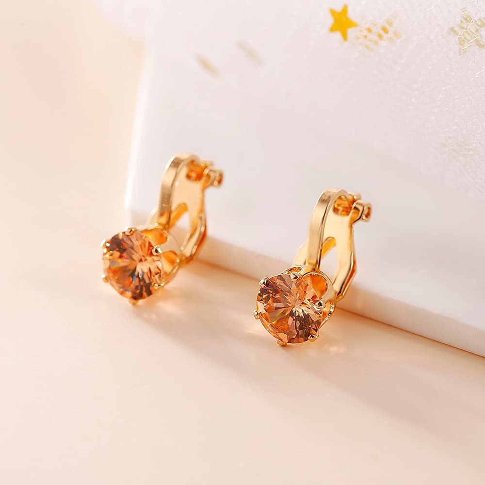 Round Cubic Zirconia Clip Earrings for Women Fashion 3 Color Crystal Jewelry Earrings Female Wedding Party Gift