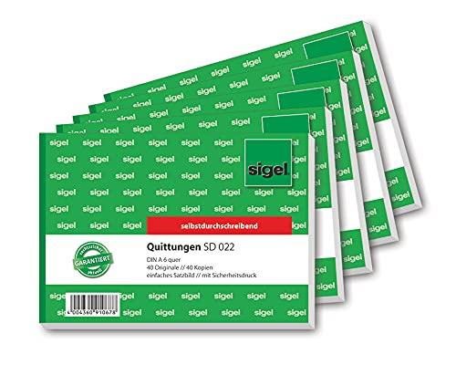 SIGEL 022S5 SD022 Quittungsblock A6 quer, 2x40 Blatt, selbstdurchschreibend, 5er Pack