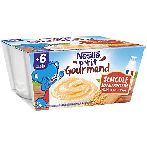 Nestlé Bébé P'tit Gourmand Semoule au Lait Biscuitée - 4 x 100g - Dès 6 mois