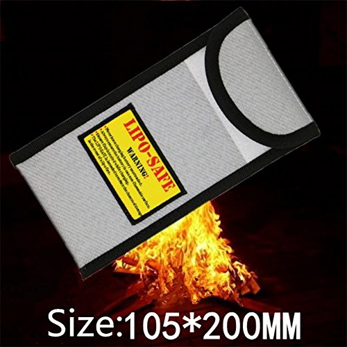 HELEISH Nueva bolsa de protección de seguridad de batería a prueba de explosiones ignífugas de superficie Li-po 105 * 200 mm Piezas de montaje de bricolaje