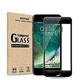 AKWOX AK-GL017BK iPhone 7 8 Screen Protector, Full Cover iPhone 7 Tempered Glass (Pack of 2), Black Edge