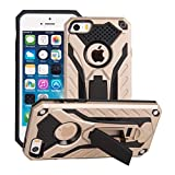 Funda iPhone 5S Oro- MUTOUREN 2 en 1 PU+ PC Híbrido Resistente a Prueba Golpes Kickstand Robusto Defender Cover Case para iPhone SE/5/5S