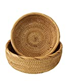 Wicker Bread Fruit Basket Bowl | Round Tabletop Rattan Woven Serving Bowls for Home and Re...