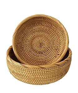 Cuenco de mimbre para pan de frutas   Tazón de mesa redonda tejida de ratán para servir para el hogar y el restaurante (2 tazones)