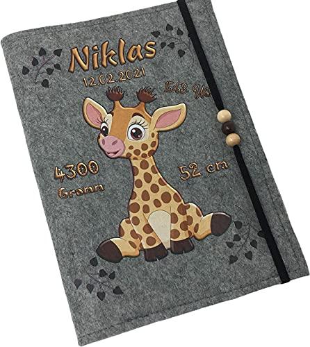 U Heft Hülle Filz mit Namen datum Impass fach Giraffe untersuchungsheft hülle personalisiert geschenk geburt hell
