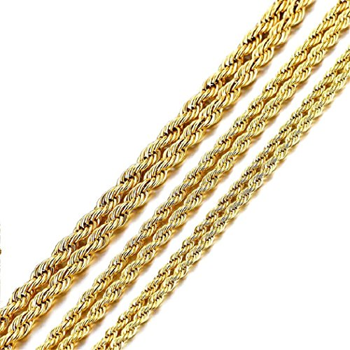 18K純金コーティングステンレス編み込みロープ フレンチロープネックレスチェーン (幅4�o 長さ50�p)