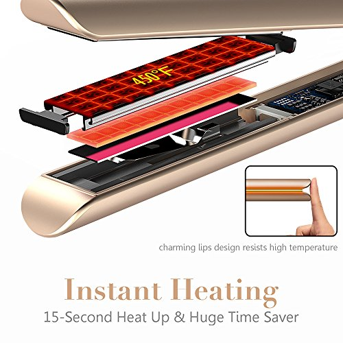 Professional Hair Straightener, Flat Iron for Hair Styling: 2 in 1 Tourmaline Ceramic Flat Iron for All Hair Types with Rotating Adjustable Temperature and Salon High Heat 250℉-450℉, 1 Inch (Gold)