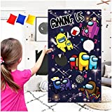 Among Us Toss Game with 3 Bean Bags – Cool Game Theme Party Supplies Decorations Happy Birthday Party Sign for Kids Girls Boys– Outdoor Indoor Activity Games