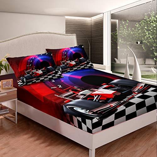 Juego de ropa de cama de coche deportivo para decoración de coches de carrera, juego de sábanas para niños y niñas, juego de cama con 2 fundas de almohada de 3 piezas de ropa de cama doble