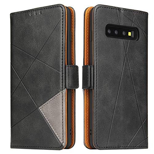 Lelogo Handyhülle für Samsung S10 Hülle, Galaxy S10 Lederhülle Handytasche, Klapphülle Tasche Leder Schutzhülle für Samsung Galalxy S10 (Schwarz)