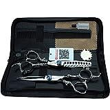 6 pulgadas de zafiro peluquería profesional de peluquería de acero inoxidable corte de cabello delgado tijera kit de combinación
