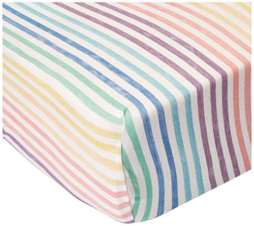 HonestBaby Organic Cotton Fitted Crib Sheet, Rainbow Stripe, One Size