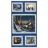 Benartex 0762944 Winter Season Panel Blue/Fabric Stoff,
