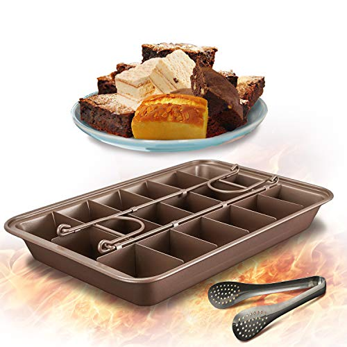 Brownie Pan with Dividers, Non-Stick Edge Brownie Pans , Bakeware Cutter Tray Molds Square Cake Fudge Pan with Built-in Slicer lid for All Oven Baking, 12X8 Inch Champagne Gold
