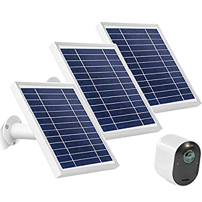 Uogw 3W 6V Solar Panel Compatible with Arlo Ultra/Ultra 2, Arlo Pro 3/Pro 4 & Arlo Floodlight, with 11ft Waterproof Magnetic Power Cable, Adjustable Mount-(3 Pack, Silver)(NOT for Arlo Essential)