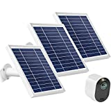 Uogw 3W 6V Solar Panel Charge for Arlo Pro3/ Arlo Ultra/Ultra 2/Arlo Pro 4, with 11ft Waterproof Magnetic Power Cable, Adjustable Mount- (3Pack, Silver)