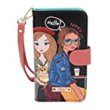 Nikky Satine Universal Phone Printcase - Leather Card Wallet Wristlet for iphone and Smartphones. Card Pockets Holder Purse with Hand Strap. (Girls Want to Have Fun)