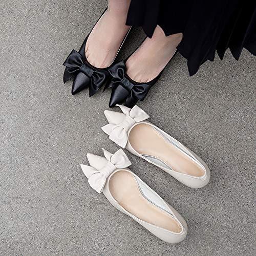 HOESCZS Talons Hauts Nouveau Printemps Chaussures à Talons Aiguilles pour Les Les dames à La Mode Chaussures Chaussures en Cuir Sauvage Bow