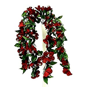 Floral Décor Supplies for 26″ Hanging Hibiscus Bush Artificial Silk Flowers Wedding Arch Centerpiece Vines for DIY Flower Arrangement Decorations – Color is Burgundy/Wine