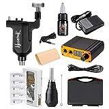 HAWINK Complete Tattoo Kit Rotary Tattoo Machine Kit 20Pcs Cartridges Needles Digital Power Supply Foot Pedal Black MK657-1