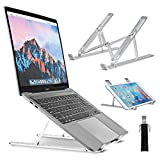 Laptop Stand Adjustable NASUM Portable Computer Stand Aluminum Multi-Angle Foldable Laptop Holder Ventilated Cooling, Compatible for MacBook, Dell, Lenovo Most Laptop 10-15.6 Inch PC Notebook-Silver